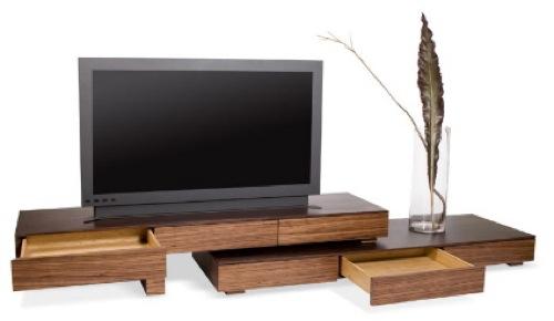 Низкие тумбы под телевизор из натурального дерева