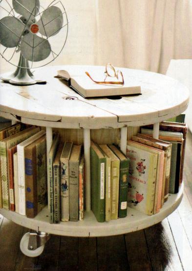 Журнальный столик с полками для книг, переделанный из старой катушки