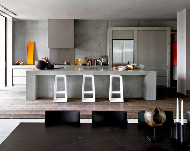 Кухня из серого бетона