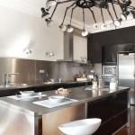 Кухня со множеством никилированных поверхностей
