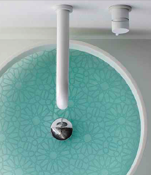 Круглая раковина из стекла с узорами