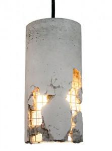 Оригинальные предметы интерьера из бетона -- светильник