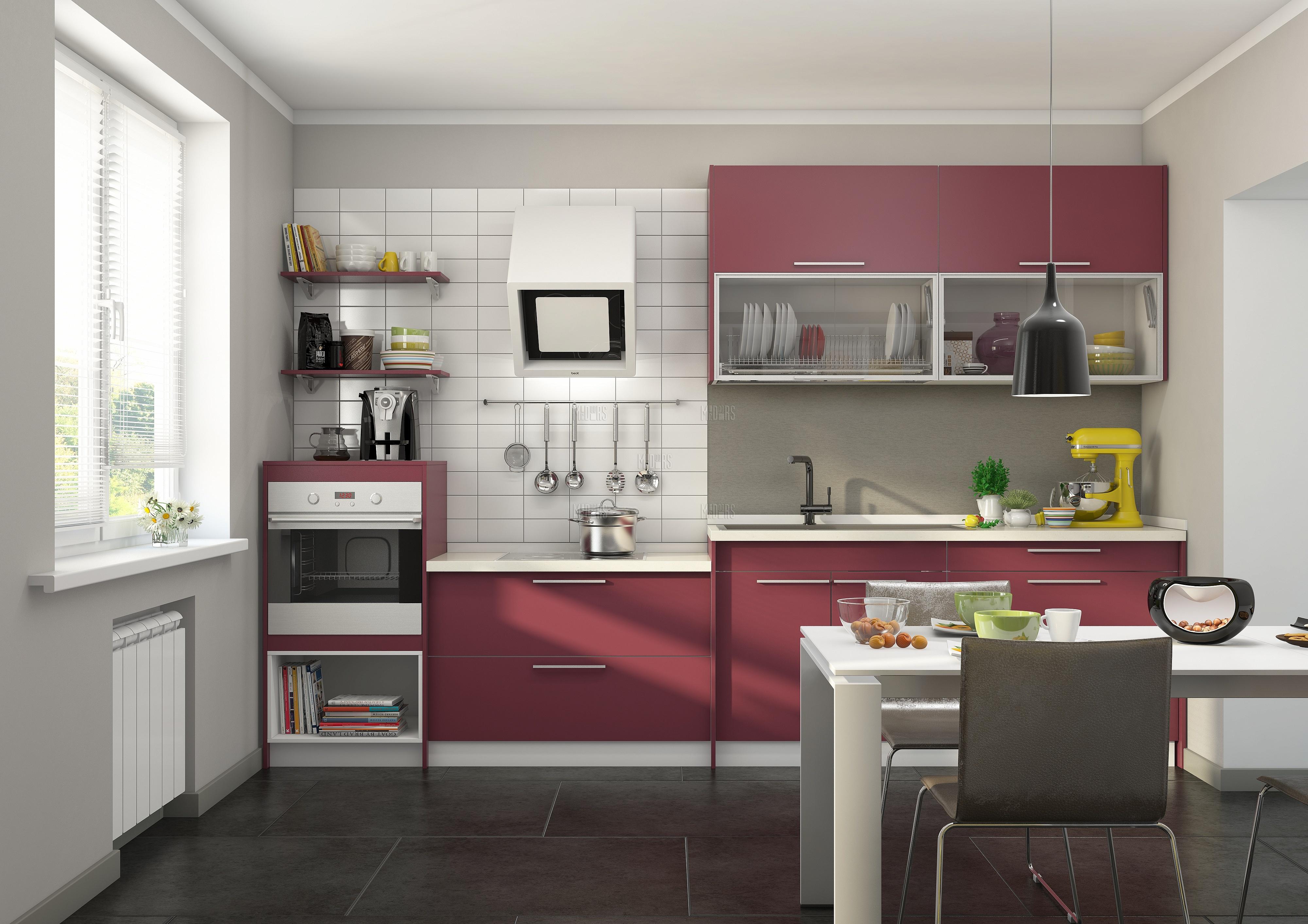 Кухня на заказ в насыщенном бардовом цвете