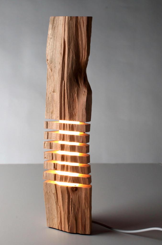 ЛЕД подсветка внутри куска дерева