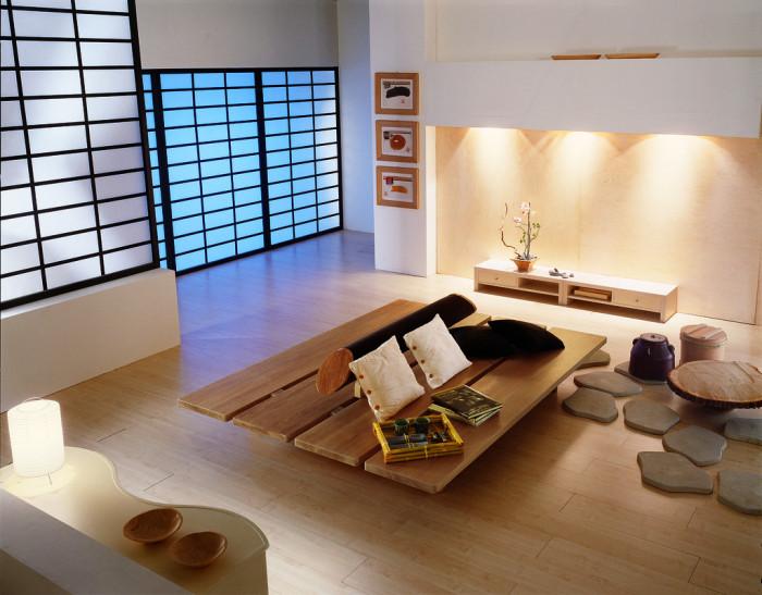 Полупрозрачные экраны в японском стиле в дизайне спальни
