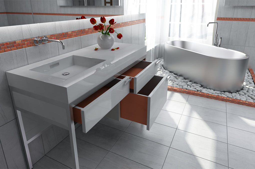 Тумба с выдвижными ящиками под раковину в ванной
