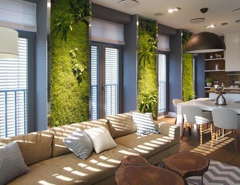 Вертикальное озеленение в дизайне интерьера; Примеры с фото