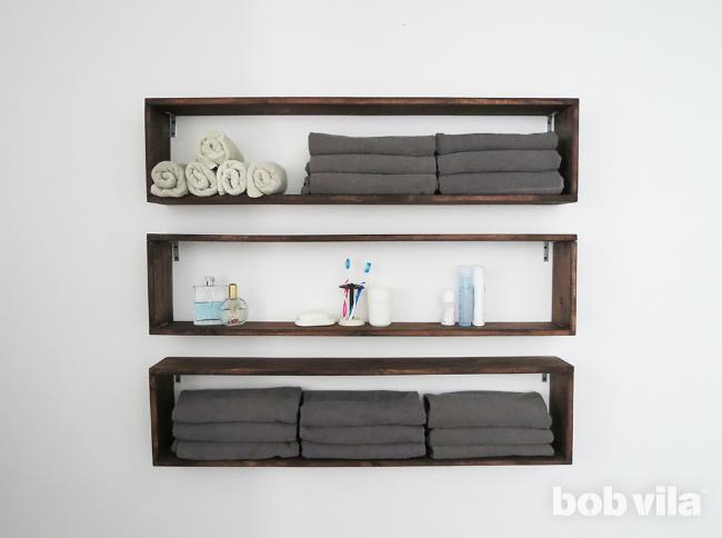 DIY настенные полки - Ванная комната для хранения