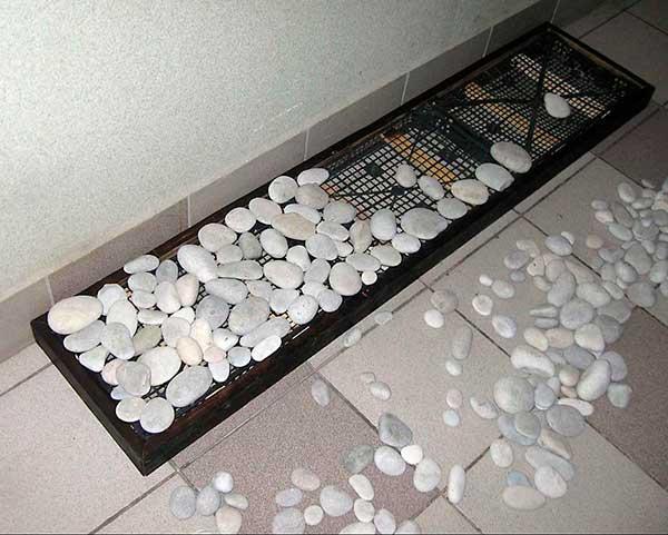 самодельная подставка под обувь из камней
