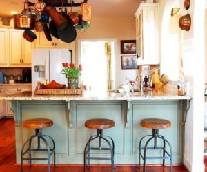 country-kitchen-with-turquoise-accents-and-industrial-stools-300x250