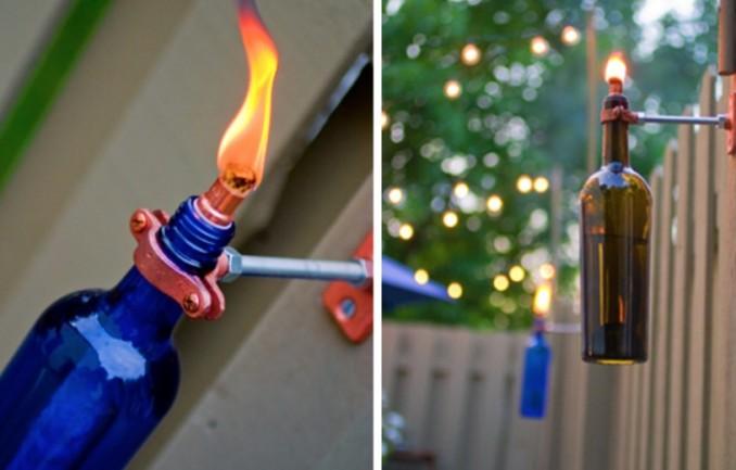 дворовый светильник свеча из бутылки